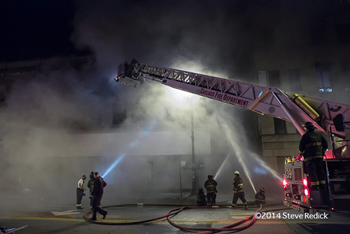 heavy smoke at night fire scene ion Chicago