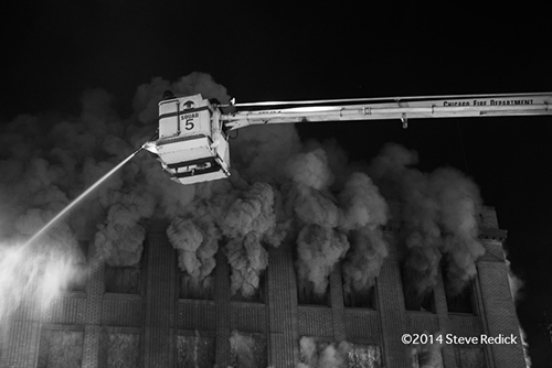 heavy smoke at night fire scene ion Chicago with Snorkel