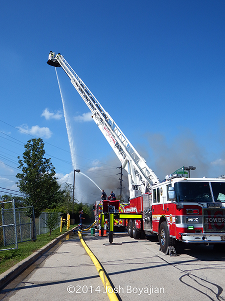 tower ladder working with elevated master stream