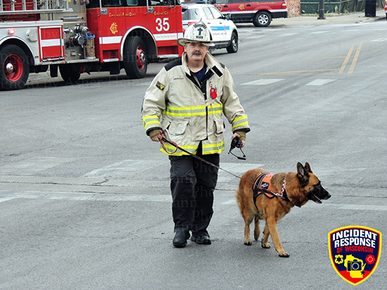 Chicago FD Chaplain with German shepard