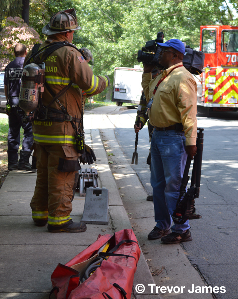 fire department PIO with media