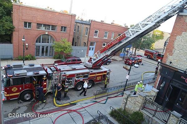 aerial ladder truck at fire scene