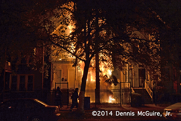 house fire at night in Chicago