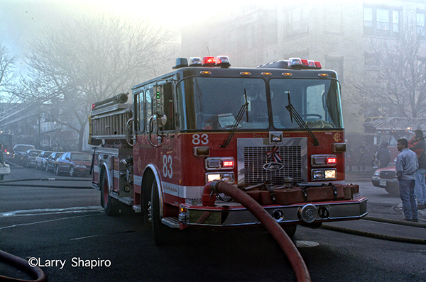 Chicago fire engine pumping at fire sene