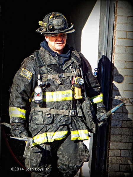 Chicago fireman after battling a fire