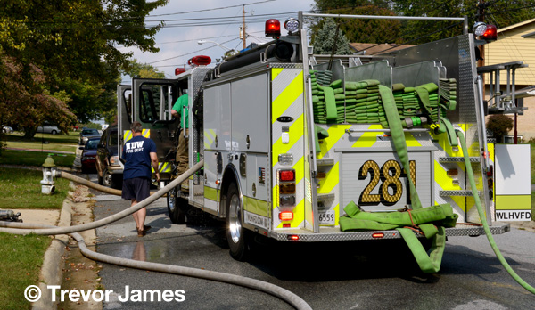 colorful fire engine at fire scene