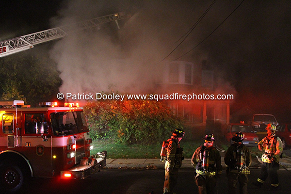 night fire scene in Manchester CT