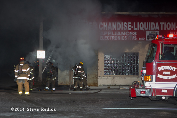 commercial building fire at night