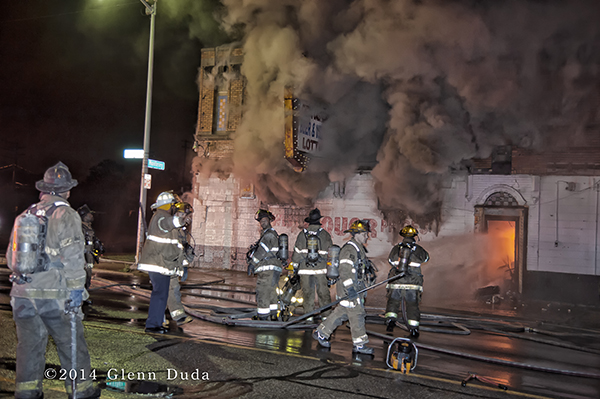 heavy smoke from commercial building at night