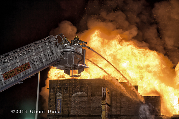 Sutphen tower ladder fighting massive fire