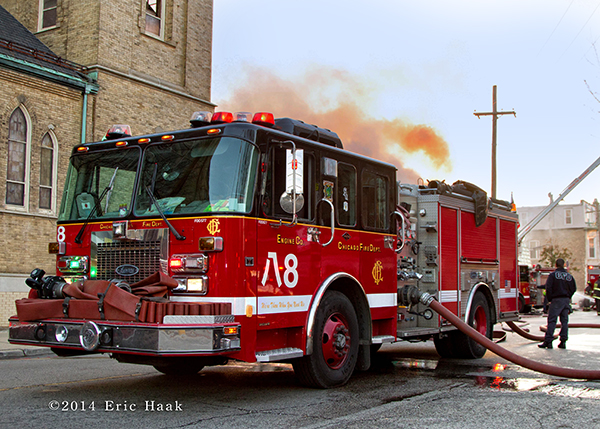 Chicago FD Engine 8 at a fire scene