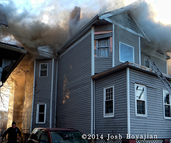 smoke through the roof of a house