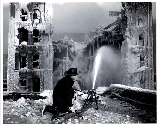vintage winter fire scene with Chicago firefighter