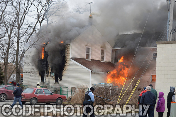 heavy flames from house fire