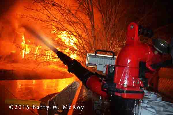 deck gun at huge house fire