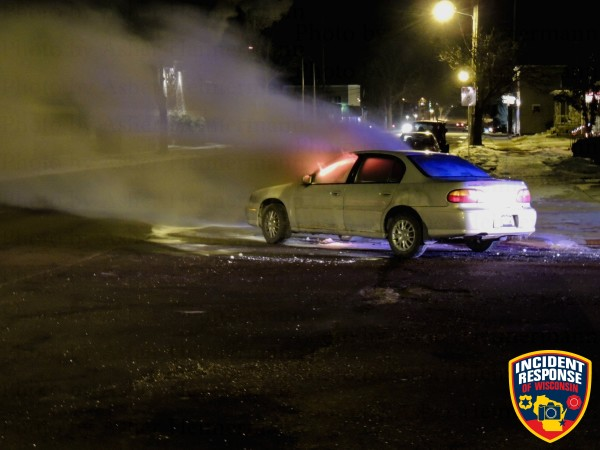 car fire at night