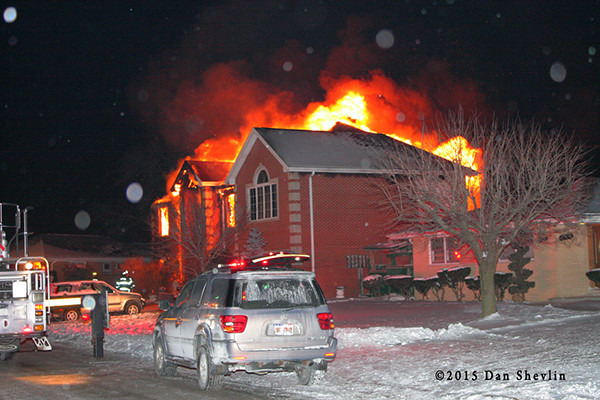 big house fire at night