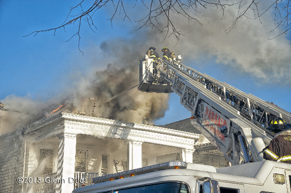 winter fire scene on Passaic NJ