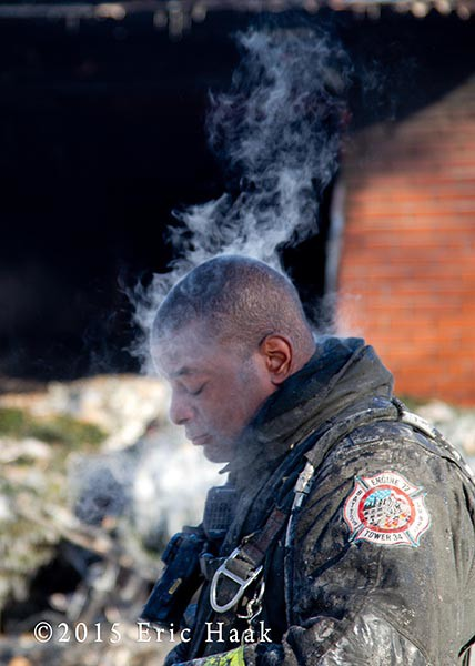 fireman with steam rising from his head