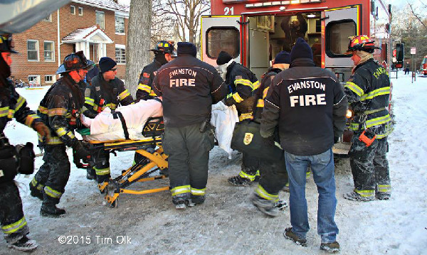 EMS attends to injured firefighter