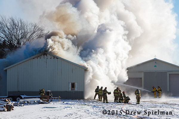 heavy smoke at winter fire scene