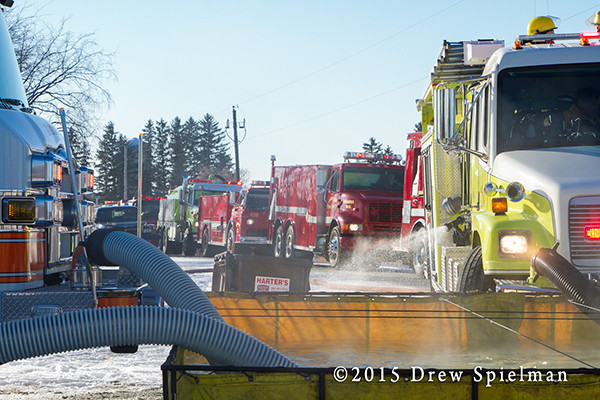 tanker shuttle at winter fire scene