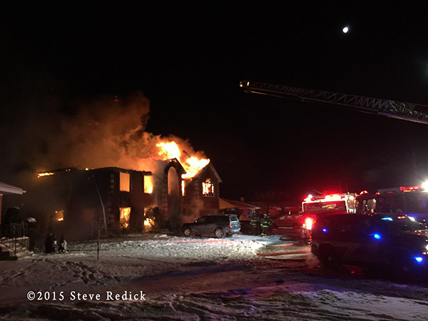 house fire at night in the winter