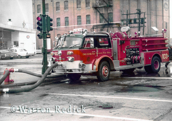 American LaFrance fire engine at Chicago fire scene