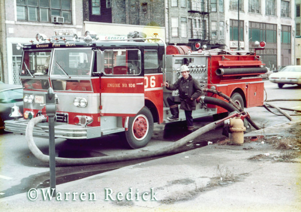 Ward LaFrance fire engine at Chicago fire scene