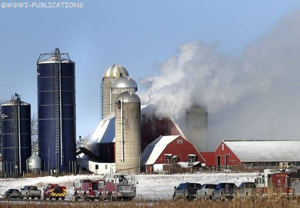 winter barn fire in frigid temperatures