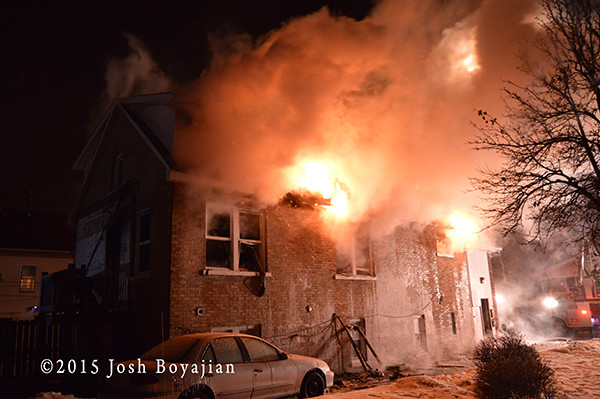 winter house fire t night with heavy fire