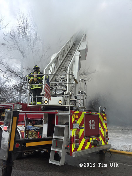 Northbrook FD tower ladder at fire scene