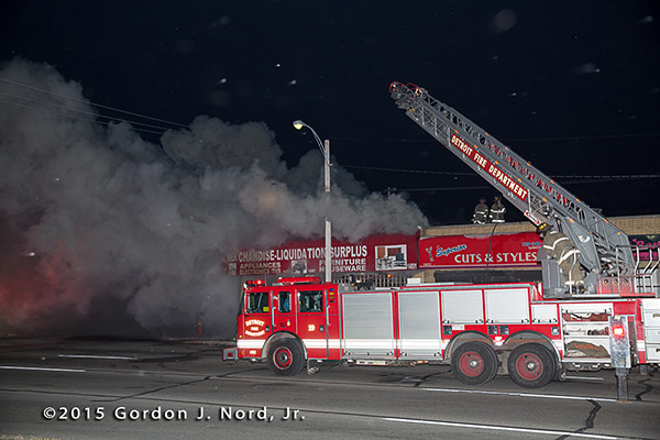 Detroit ladder truck at night fire