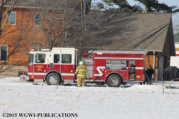 fire truck at winter fire scene