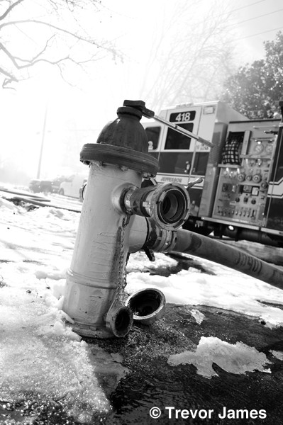 fire hydrant at winter fire scene