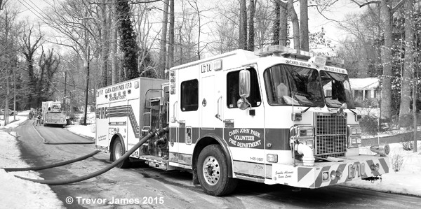 white fire engine in black and white