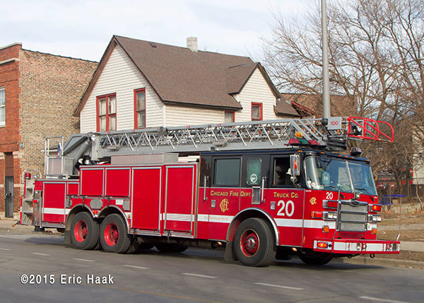 Chicago FD Pierce ladder truck at fire scene