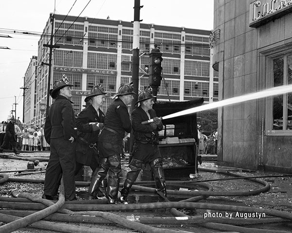 classic photo of Chicago firemen working  circa 1950