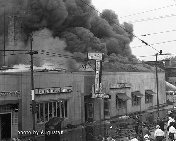 classic photo of large fire in Chicago circa 1950