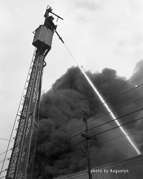 Chicago FD classic water tower at fire scene