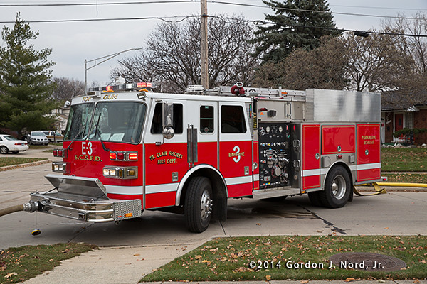St Clair Shores Sutphen fire engine at fire scene
