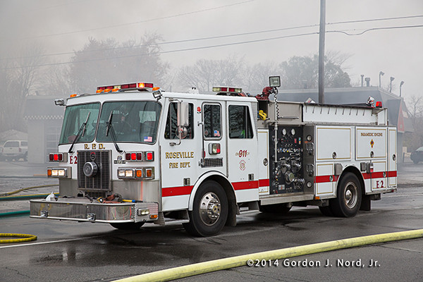 Roseville Sutphen fire engine at fire scene