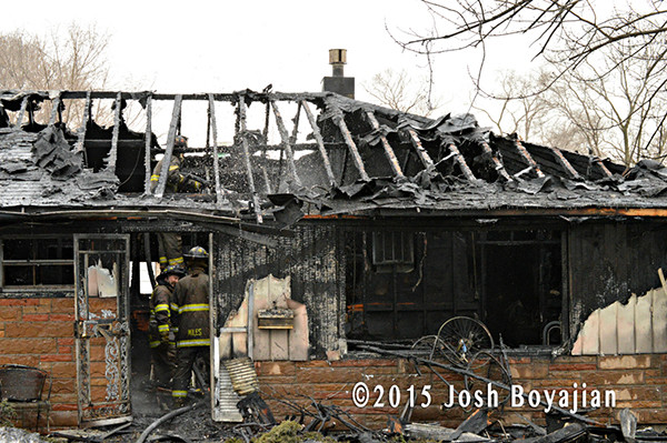 charred remains of a house fire