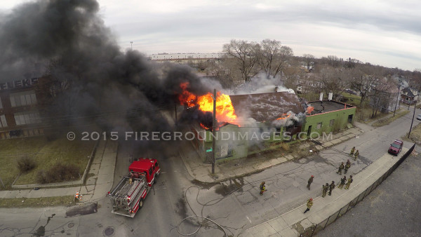 drone footage of fire in Detroit