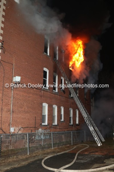 night fire at apartment building
