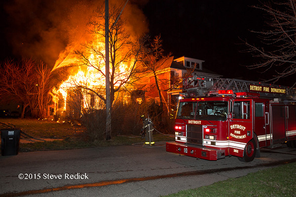 Detroit fire scene at night