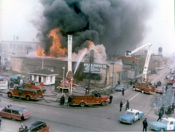 classic 1965 Chicago fire scene