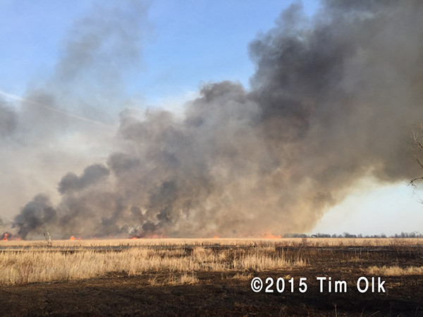 large flames and heavy smoke at big prairie fire