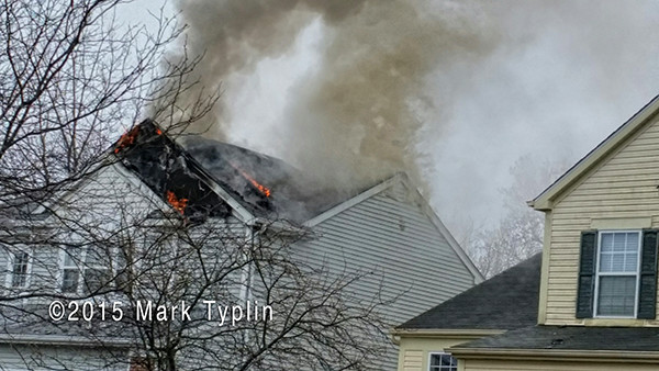 house fire with smoke from roof