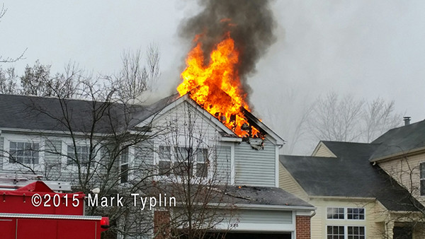 flames from roof of house on fire